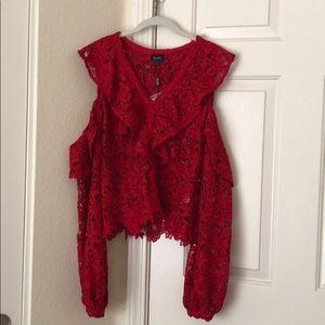 Bardot Red Cold Shoulder Lace Top